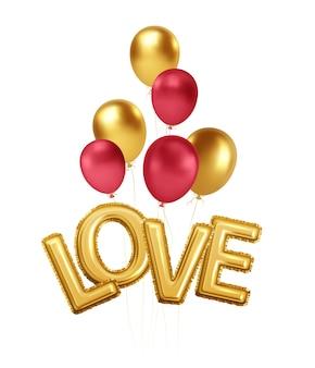 Happy valentines day or et ballons rouges avec l'inscription love de ballons d'hélium en feuille d'or