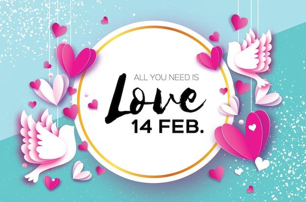Happy valentines day origami coeurs blancs rouges en papier découpé style espace pour texte texte vacances romantiques amour février