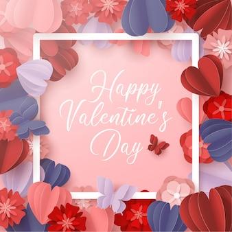 Happy valentines day papier coupé style avec forme de coeur coloré en rose