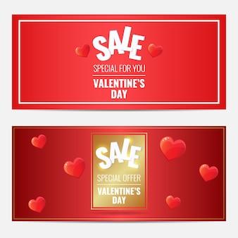 Happy valentines day sale gorizontal rouge ensemble de bannières avec cadre doré et coeurs.