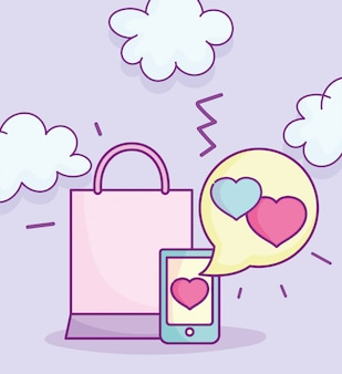 Happy valentines day, téléphone amour message shopping bag vector illustration