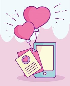 Happy valentines day, téléphone message lettre ballons coeur amour vector illustration