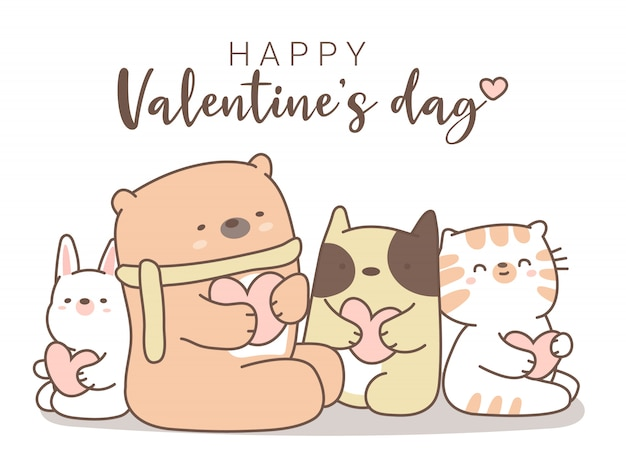 Happy valentines day with cute animal cartoon drawn style