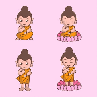 Happy vesak day cute set personnage