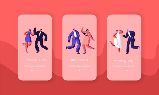 Happy wedding character dance party mobile app page ensemble d'écran à bord. homme marié femme célèbre l'événement de mariage. site web ou page web de l'engagement des nouveaux mariés. illustration vectorielle de dessin animé plat