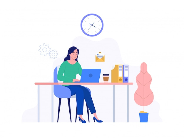 Happy woman working at home with laptop, freelance, coworking space, concept illustration, woman freelancer working on computer, can use for, landing page, template, ui, web, homepage, poster