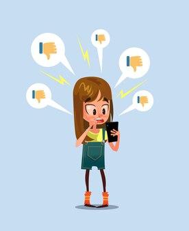Harcèlement des médias sociaux à la traîne concept de cyberintimidation, illustration plate de dessin animé
