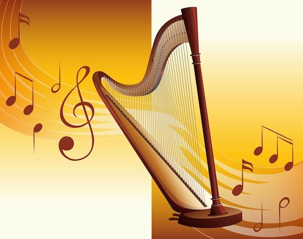 Harpe classique avec des notes de musique en arrière-plan