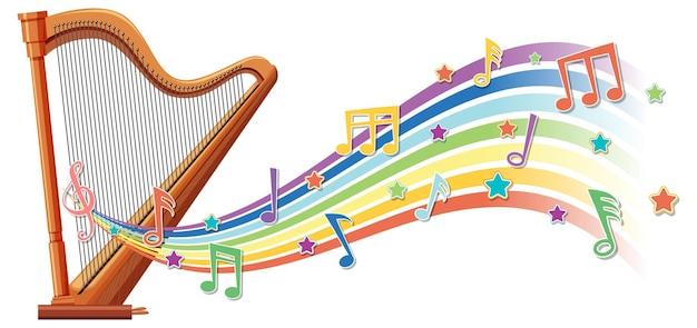 Harpe avec symboles de mélodie sur la vague arc-en-ciel