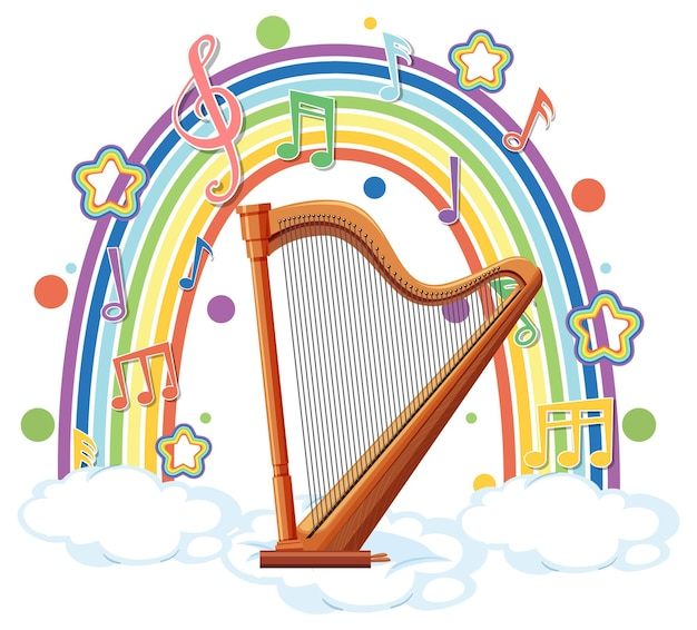 Harpe avec symboles mélodiques sur arc-en-ciel
