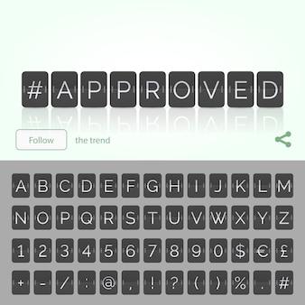Hashtag approuvé par l'alphabet du tableau de bord à retournement plat avec des chiffres et des symboles