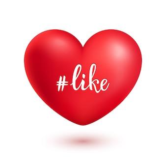 Hashtag comme sur un coeur de realsitic rouge