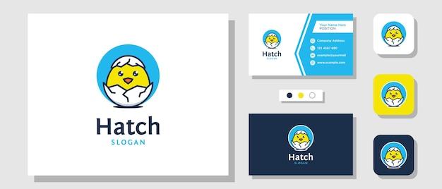 Hatch egg cartoon cute baby newborn nest illustration logo design avec carte de visite modèle de mise en page