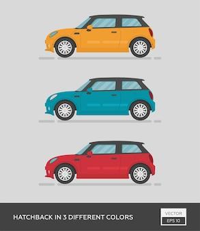 Hatchback en 3 couleurs différentes