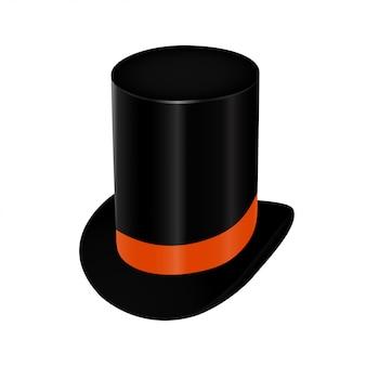 Haut-de-forme noir avec ruban orange