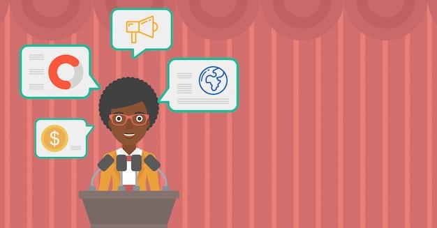 Haut-parleur féminin sur l'illustration vectorielle podium.