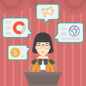 Haut-parleur féminin sur le podium