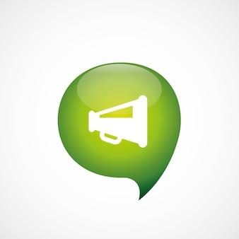 Haut-parleur, icône, vert, pense, bulle, symbole, logo, isolé, blanc, fond