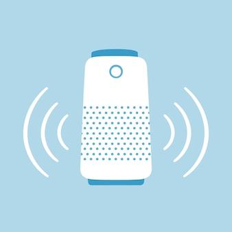 Haut-parleur intelligent. accueil assistant vocal personnel. illustration vectorielle dessinés à la main