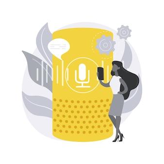 Haut-parleur intelligent. assistant intelligent à commande vocale, hub domotique virtuel, internet des objets, dispositif de commande intégré, navigation tactile.