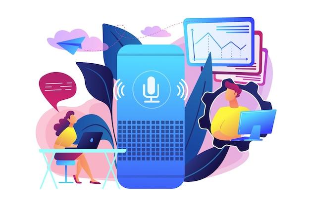 Haut-parleur intelligent utilisé par l'illustration des employés de bureau