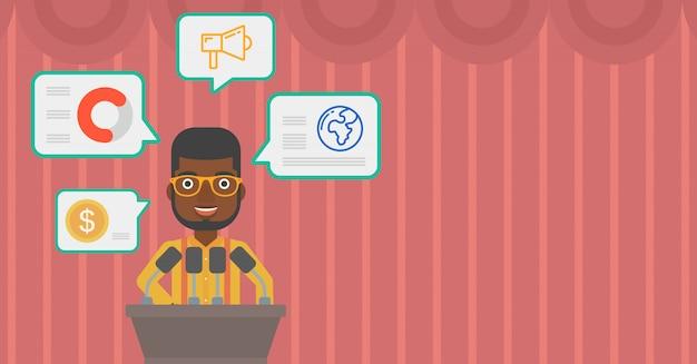 Haut-parleur masculin sur l'illustration vectorielle podium.