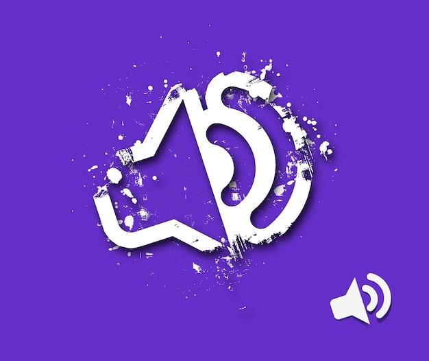 Haut-parleur, mégaphone, haut-parleur, illustration vectorielle d'icône d'art grunge.