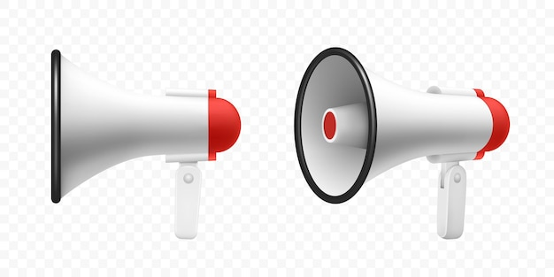 Haut-parleur de mégaphone ou mégaphone de haut-parleur de haut-parleur réaliste d maquette mégaphone isolé moderne