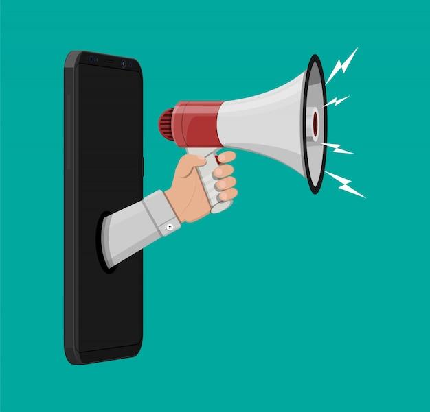 Haut-parleur ou mégaphone. téléphone intelligent
