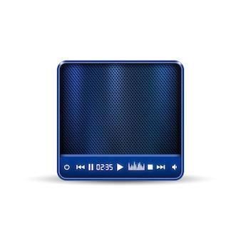 Haut-parleur portable carré bleu