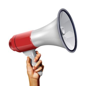 Haut-parleur réaliste de vecteur dans la main du jeune