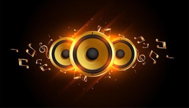 Haut-parleurs de musique brillants avec fond de notes sonores