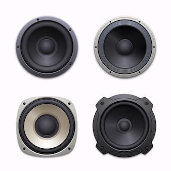 Haut-parleurs sonores, icônes de système de musique audio stéréo