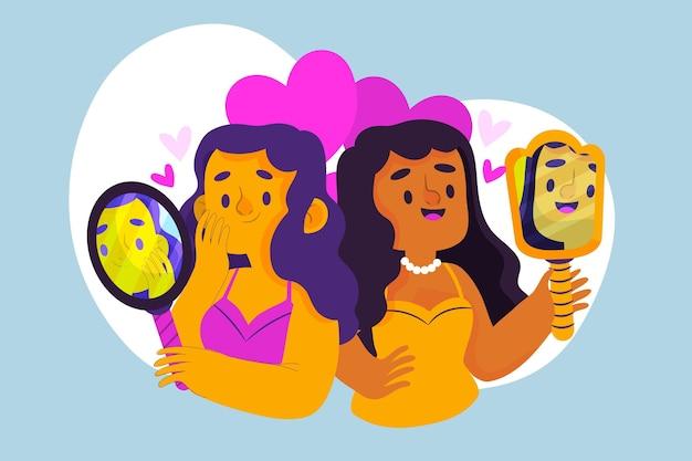 Haute estime de soi avec les femmes et le miroir