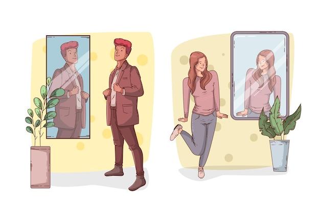 Haute estime de soi avec les gens et le miroir