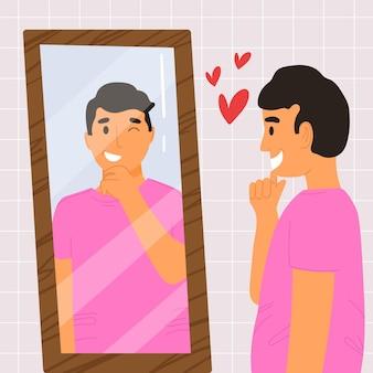 Haute estime de soi avec l'homme et le miroir