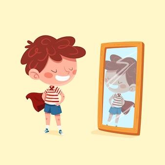 Haute estime de soi avec la personne et le miroir