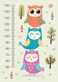 Hauteur mètre pour enfants avec des hiboux mignons.