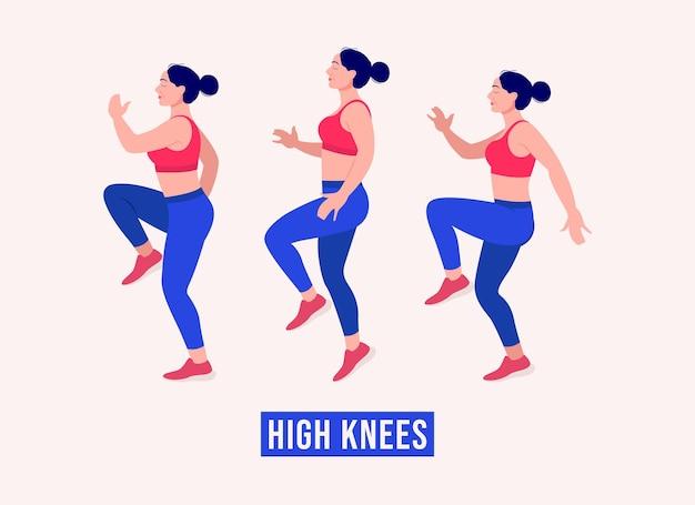 Hauts genoux exercice femme entraînement fitness aérobie et exercices vector illustration