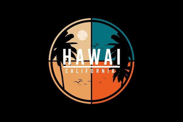 Hawaï californie, illustration de dessin à la main de style vintage rétro