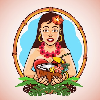 Hawaï, hula, girl, tenue, noix coco, cocktail