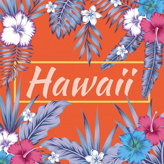 Hawaii slogan tropical feuilles fond d'hibiscus orange