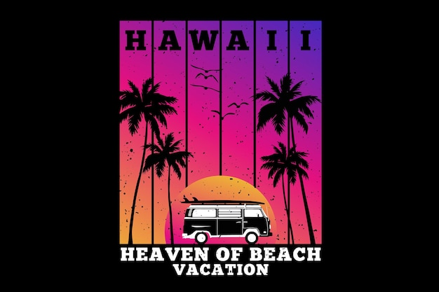 Hawaii vacances paradis plage été rétro style