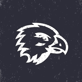 Hawk, tête d'aigle pour la conception de logo, blanc sur noir, illustration vectorielle