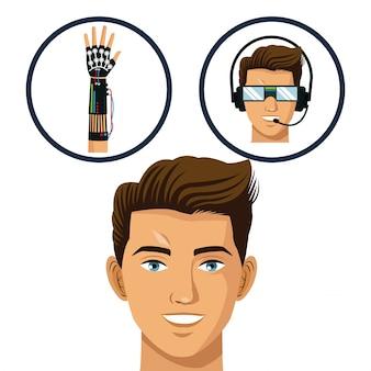 Head gamer pense lunettes et technologie virtuelle de gant filaire