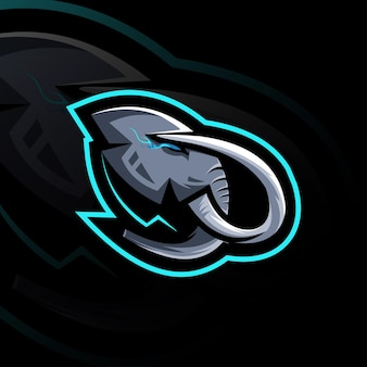 Head mammoth esport logo mascotte template design