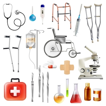 Healthcare medical accessories flat icons set