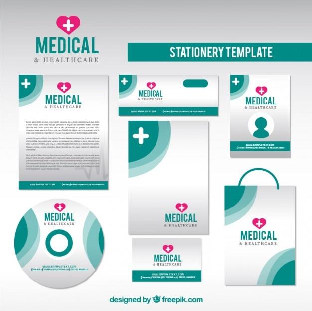 Healthcare papeterie dans des couleurs vertes