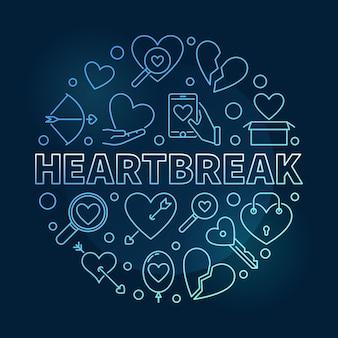 Heartbreak rond contour bleu icône illustration