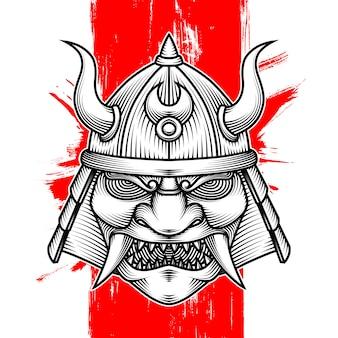 Heaume de guerre samouraï à cornes